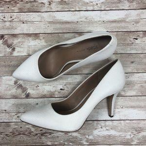 White BCBG snakeskin pointed heels Women's 8.5